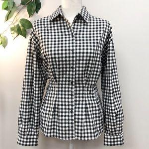 ZARA | Black white gingham button down blouse